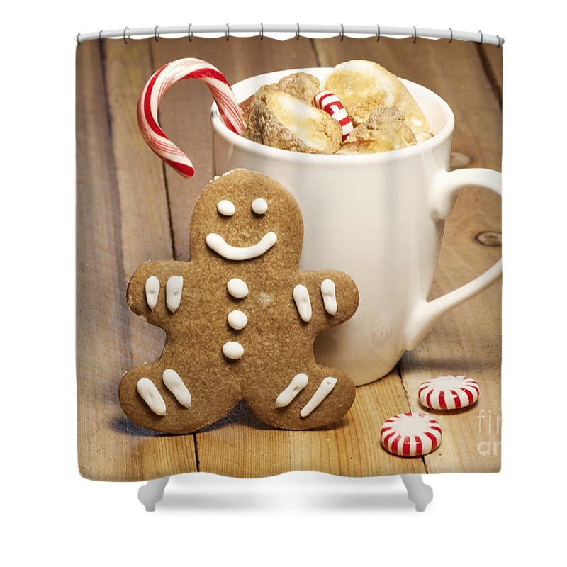 Baked Shower Curtain Featuring The Photograph Hot Chocolate Toasted Marshmallows And A Gingerbread Cookie By Juli