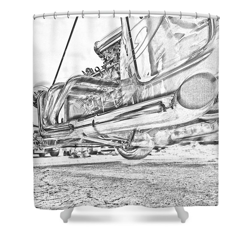 Hot Rod Shower Curtain featuring the photograph Hot Rod Exhausting by Jorge Perez - BlueBeardImagery