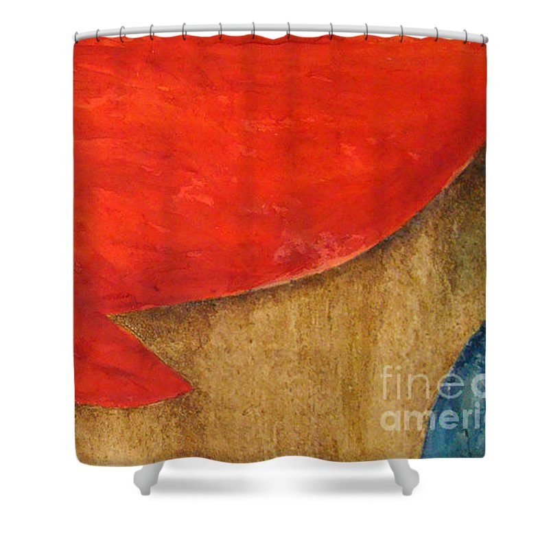 Abstract Shower Curtain featuring the painting Hot Spot by Silvana Abel