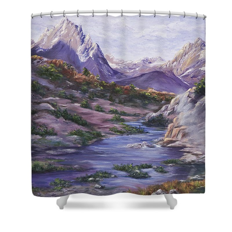 Landscape Shower Curtain featuring the painting Hot Springs by Darice Machel McGuire