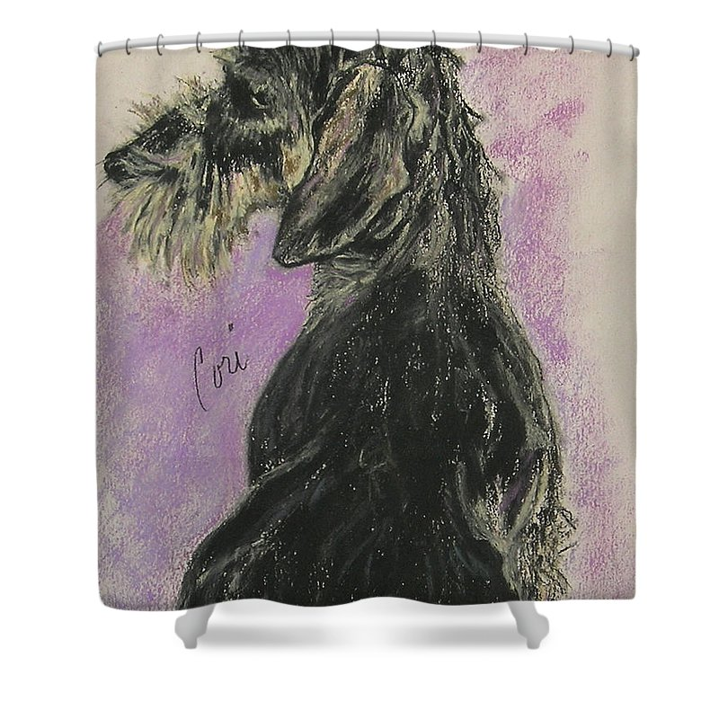 Dachshund Shower Curtain featuring the drawing Hot Wired by Cori Solomon