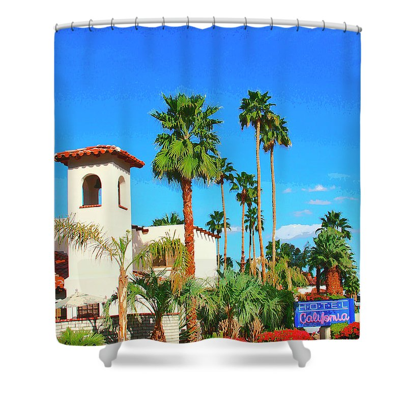 Hotel California Shower Curtain featuring the photograph Hotel California Palm Springs by William Dey
