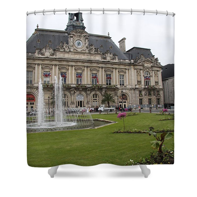 City Hall Shower Curtain featuring the photograph Hotel De Ville - Tours by Christiane Schulze Art And Photography