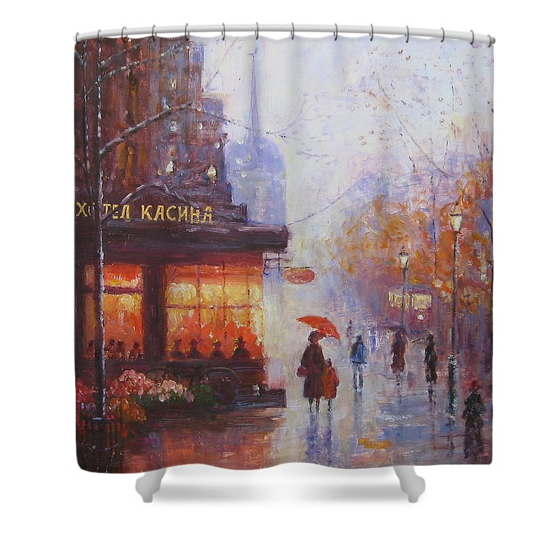 Paris Shower Curtain featuring the painting Hotel Kasina 1930 Y by Slobodan Paunovic