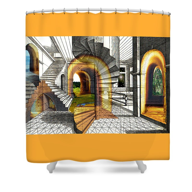 House Shower Curtain featuring the digital art House Of Dreams by Lisa Yount