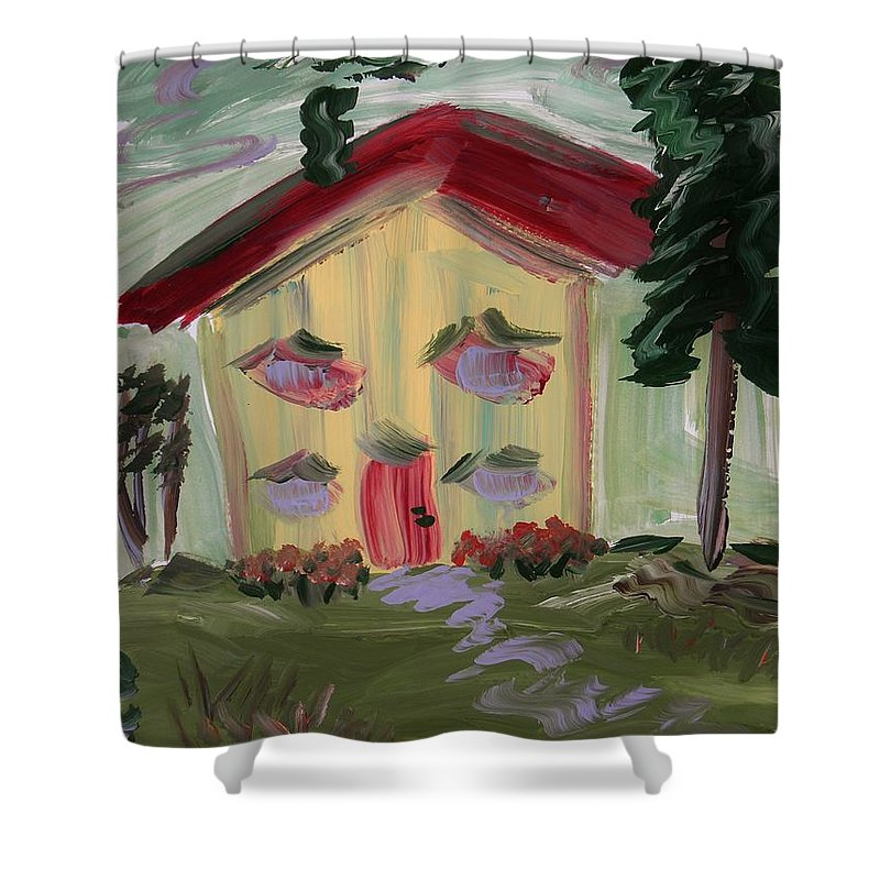 Yellow House Shower Curtain featuring the painting House Of Hugs 2 by Mary Carol Williams