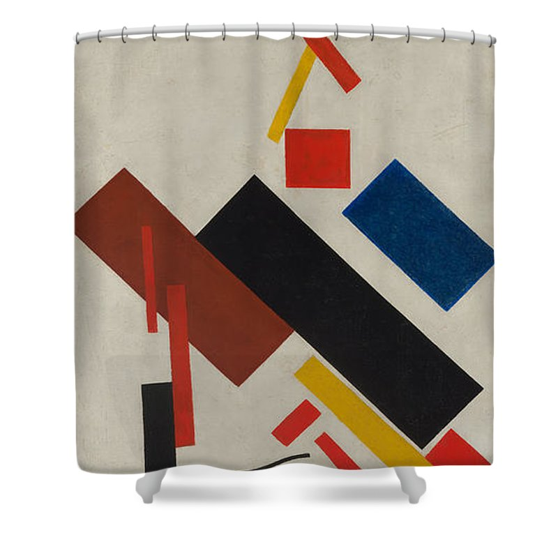 Kazimir Malevich Shower Curtain Featuring The Painting House Under Construction By