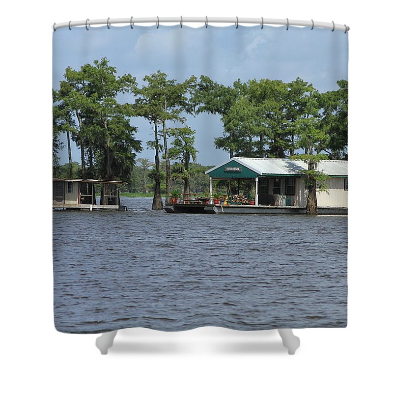 Southern Louisiana Shower Curtain featuring the photograph Houseboat - Atchafalaya Basin by Susie Hoffpauir