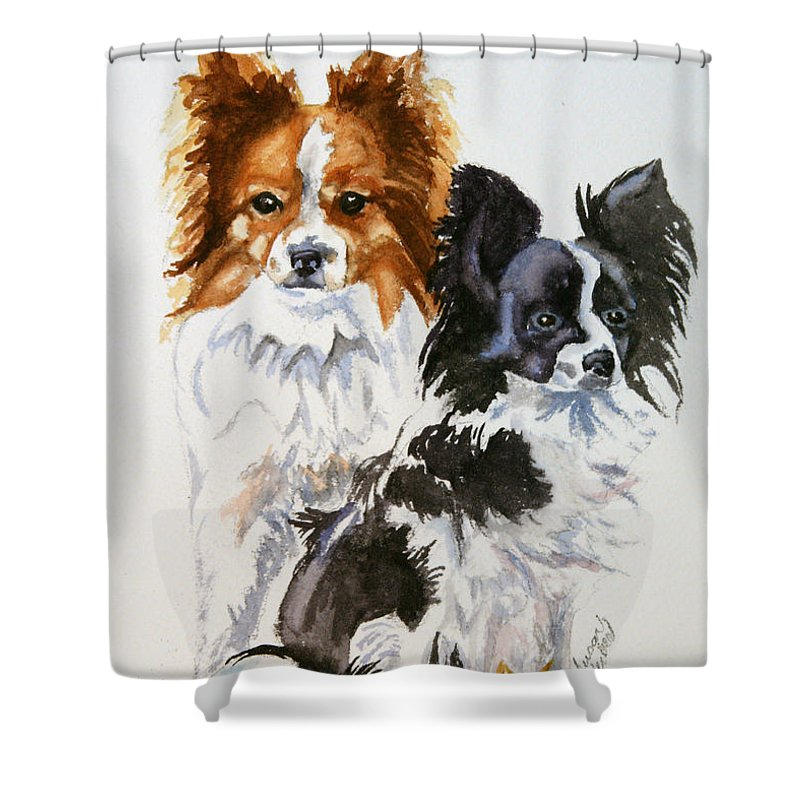 Animal Shower Curtain featuring the painting Housemates by Susan Herber