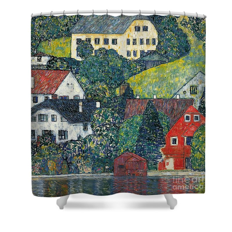 Klimt Shower Curtain featuring the painting Houses At Unterach On The Attersee by Gustav Klimt