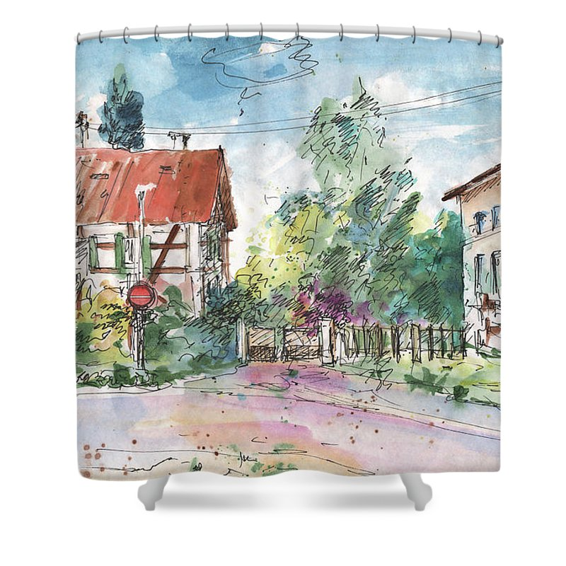 Travel Sketch Shower Curtain featuring the painting Houses In Soufflenheim by Miki De Goodaboom