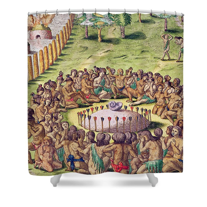 Burial Shower Curtain featuring the painting How The Chief Is Buried by Jacques Le Moyne