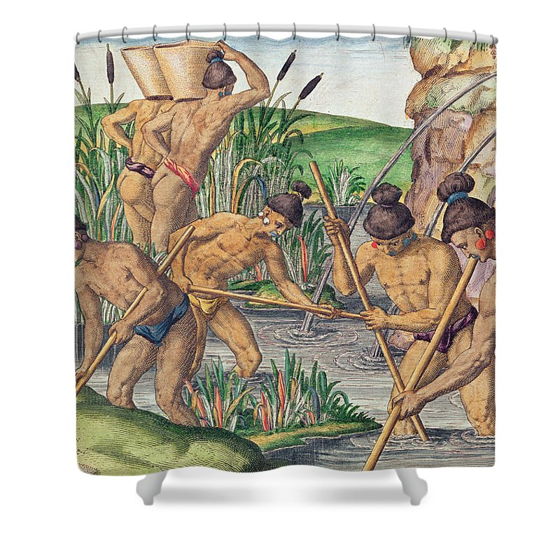 Appalachian Mountains Shower Curtain featuring the painting How The Indians Collect Gold From The Streams by Jacques Le Moyne