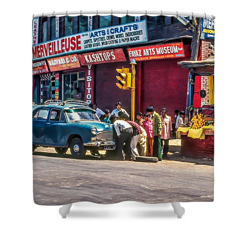 India Shower Curtain featuring the photograph How To Change A Tire by Steve Harrington
