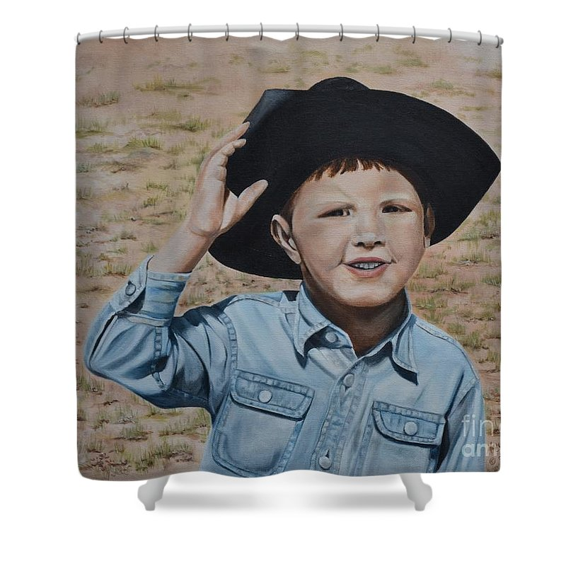 Usa Shower Curtain featuring the painting Howdy Ma'am by Mary Rogers