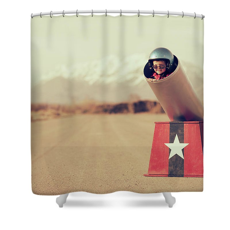 4-5 Years Shower Curtain featuring the photograph Human Cannonball by Richvintage