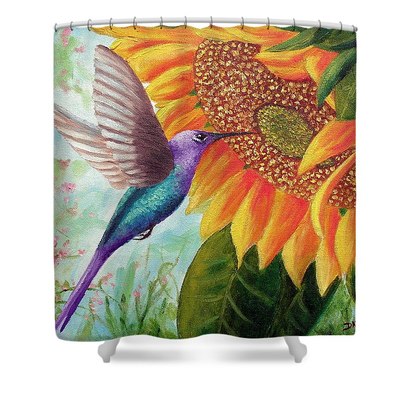 Hummingbird Shower Curtain featuring the painting Humming For Nectar by David G Paul