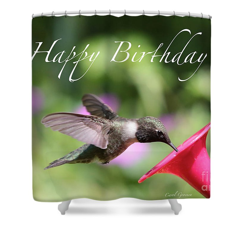 Hummingbird At Feeder Birthday Card Shower Curtain For Sale By Carol