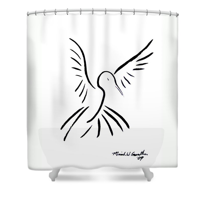 Bird Shower Curtain featuring the drawing Hummingbird by Micah Guenther