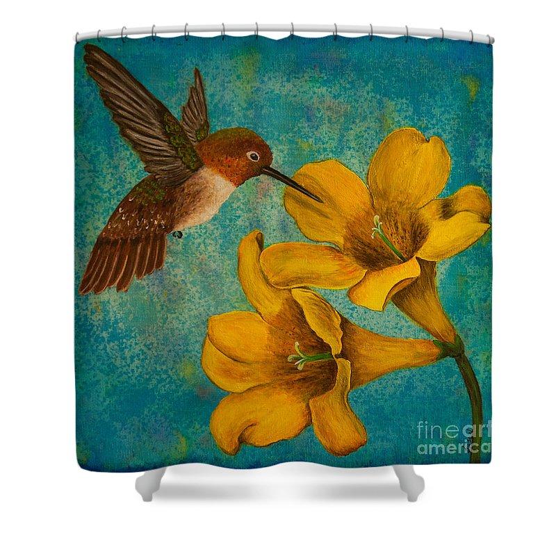 Bird Shower Curtain featuring the painting Hummingbird With Yellow Jasmine by Susan Cliett