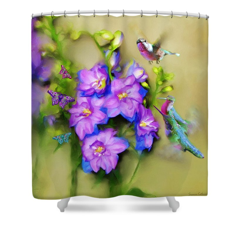 Print Of Birds Shower Curtain featuring the painting Hummingbirds Butterflies And Flowers by Susanna Katherine