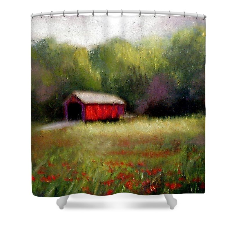 Covered Bridge Shower Curtain featuring the painting Hune Bridge by Gail Kirtz