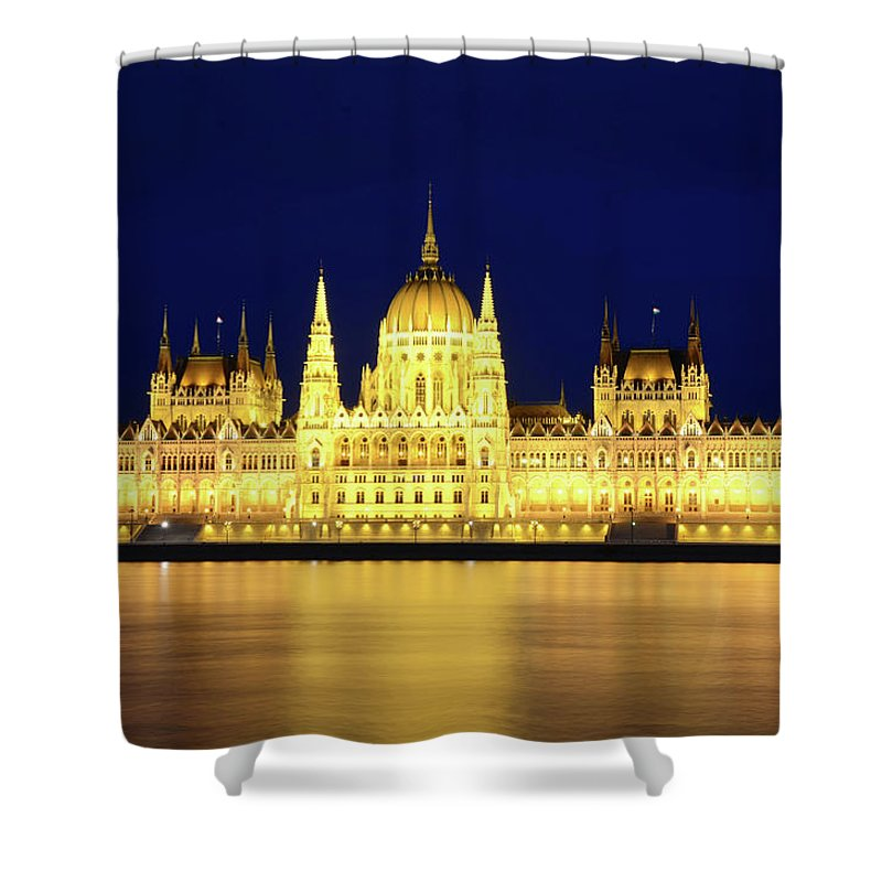 Hungarian Parliament Building Shower Curtain featuring the photograph Hungarian Parliament Building, Budapest by Dragos Cosmin Photos