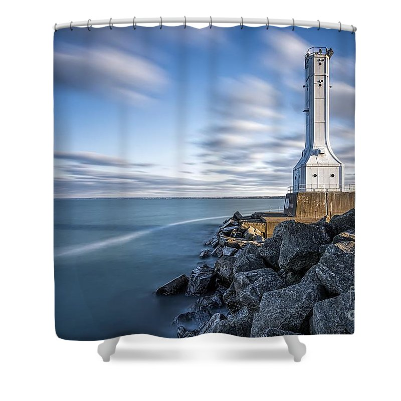Lighthouse Shower Curtain featuring the photograph Huron Harbor Lighthouse by James Dean