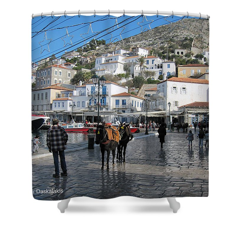 Alexandros Daskalakis Shower Curtain featuring the photograph Hydra Transportation by Alexandros Daskalakis