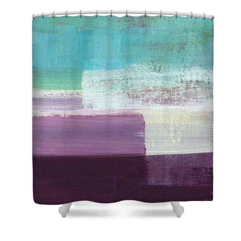 Aqua And Purple Abstract Painting Shower Curtain featuring the painting Hydrangea- Abstract Painting by Linda Woods