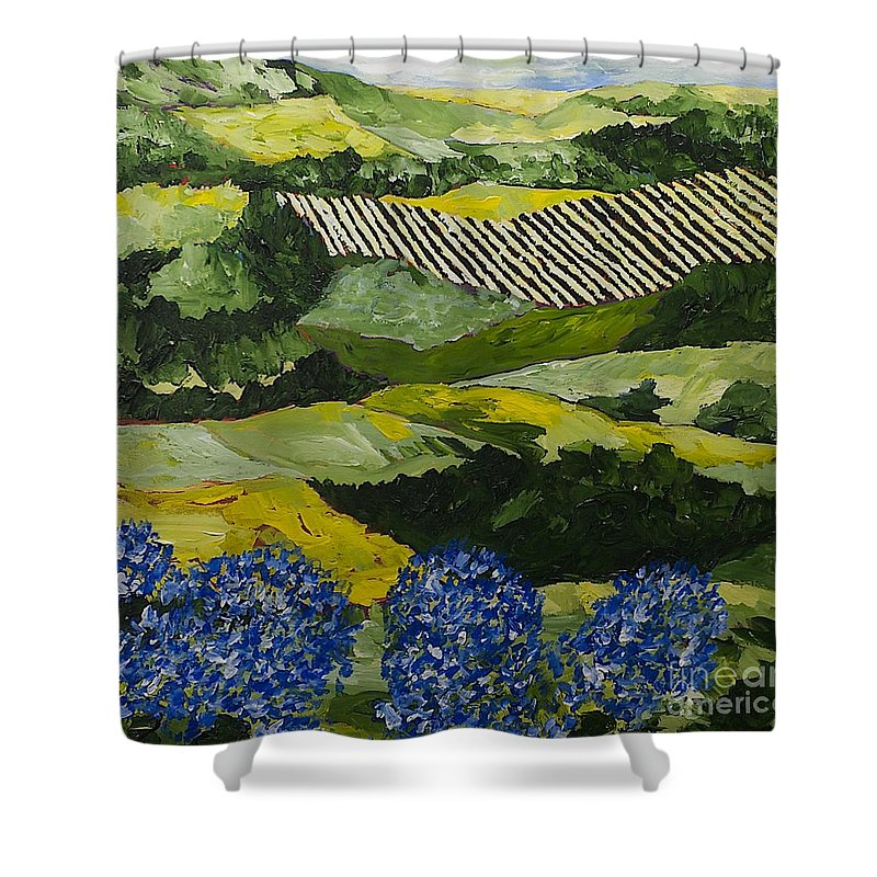 Landscape Shower Curtain featuring the painting Hydrangea Valley by Allan P Friedlander