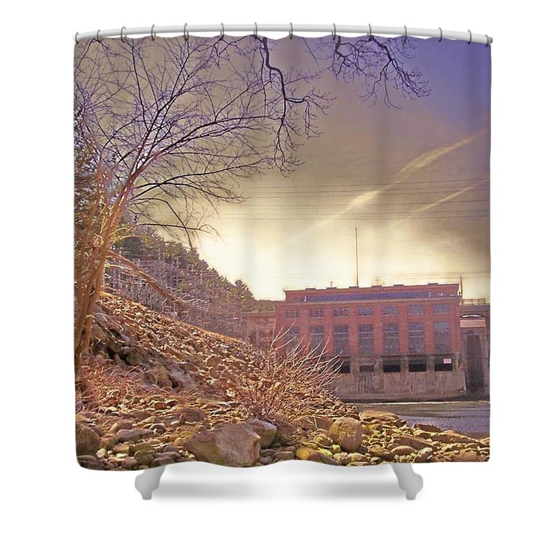 Dam Hydroelectric Science Shower Curtain featuring the photograph Hydro Electric Dam N by Kristine Nora