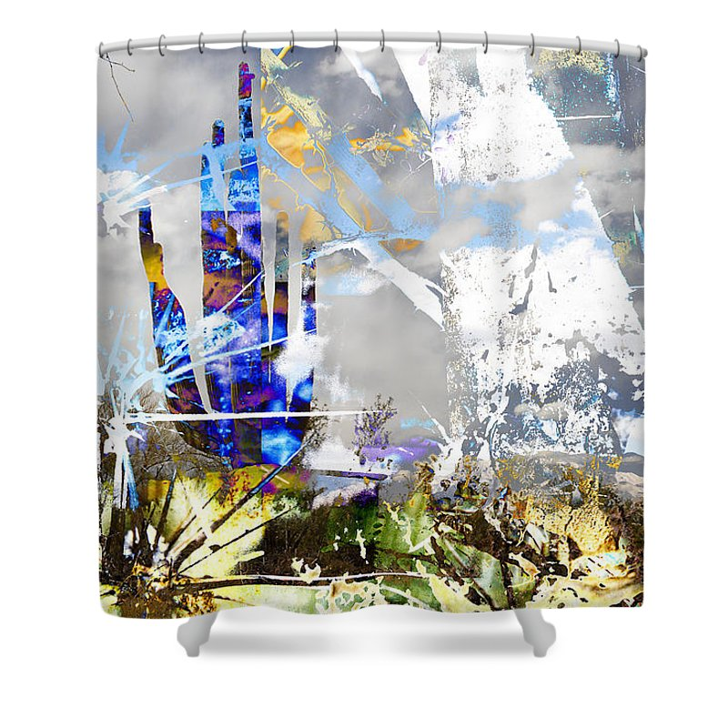 Desert Shower Curtain featuring the digital art We Are Life, Liberty And The Pursuit Of Happiness, As We Create Reality Both Individually - Winter 6 by Arthur BRADford Klemmer