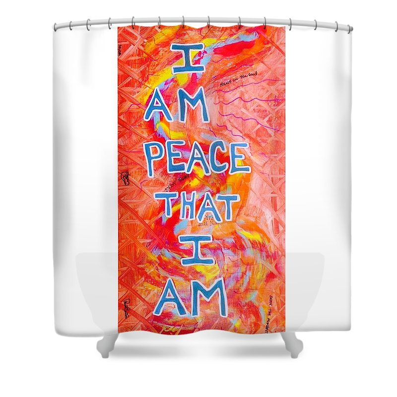 Iampeace Shower Curtain featuring the painting I Am Peace by Paul Carter