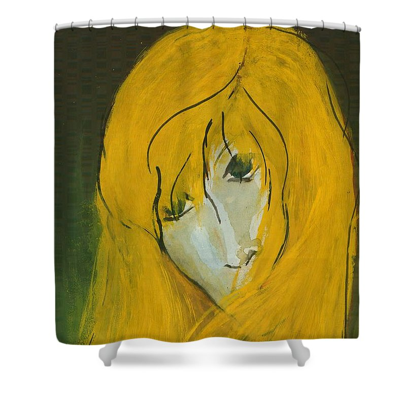 Naive Shower Curtain featuring the painting I Am Such by Wojtek Kowalski