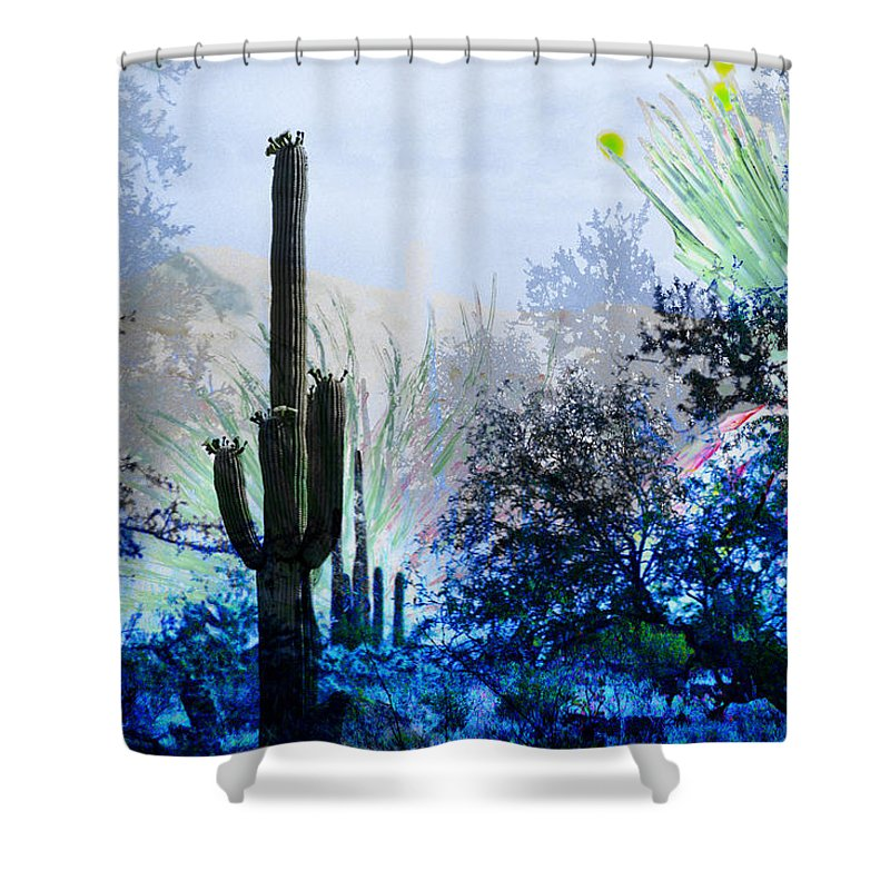 Desert Shower Curtain featuring the digital art I Am.. The Arizona Dreams Of A Snow Covered Christmas, Regardless Of Our Interpretation Of- Winter 1 by Arthur BRADford Klemmer