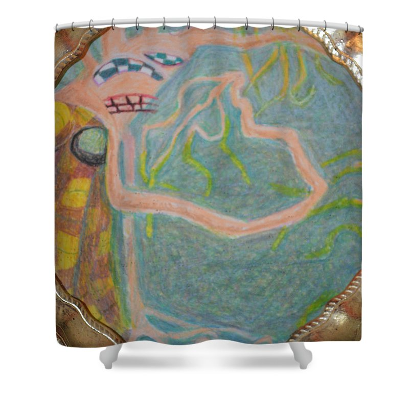 Abstract Modern Outsider Raw Woman Figure Dress Folk Surreal Lady Shower Curtain featuring the painting I Consciously Detach Myself by Nancy Mauerman