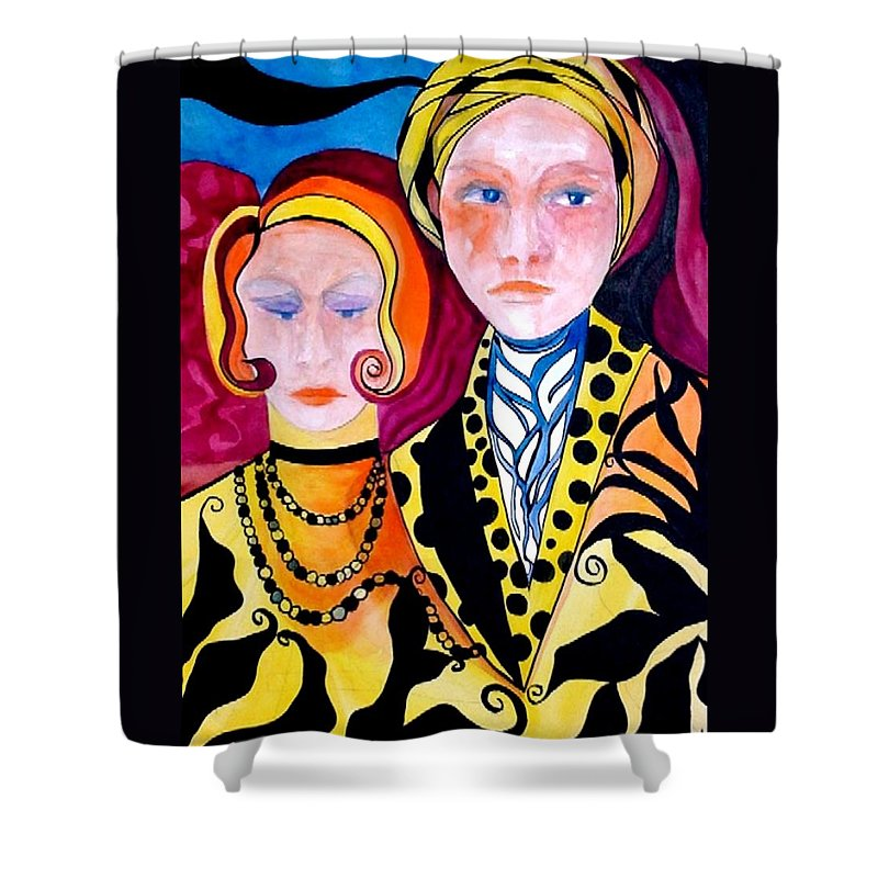 People Shower Curtain featuring the painting Alone And Together by Carolyn LeGrand