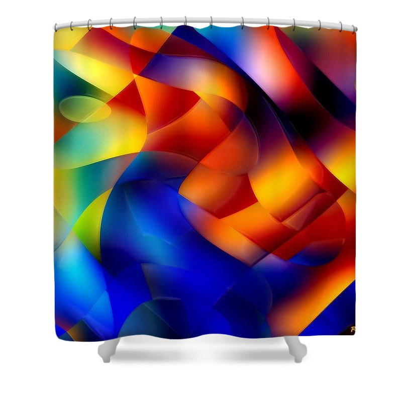 Abstract Shower Curtain featuring the painting I Have Saved All My Ribbons by RC DeWinter