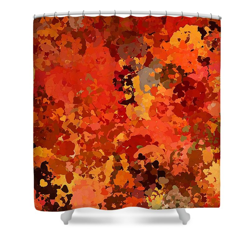 Hearts Shower Curtain featuring the painting I Love Autumn by Bruce Nutting
