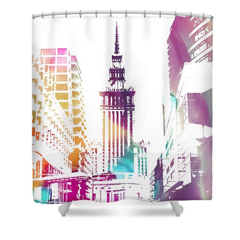 Love Shower Curtain featuring the digital art I Love Warsaw by Justyna JBJart