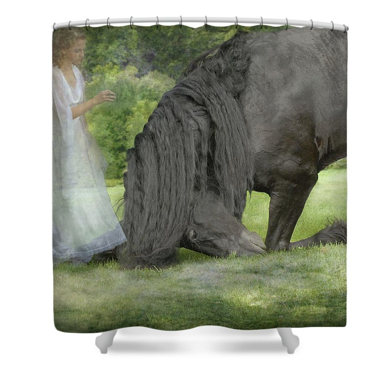 Horses Shower Curtain featuring the photograph I Miss You by Fran J Scott