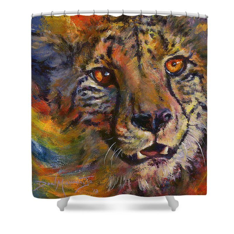 Cheetah Shower Curtain featuring the painting I Spy by Don Michael Jr