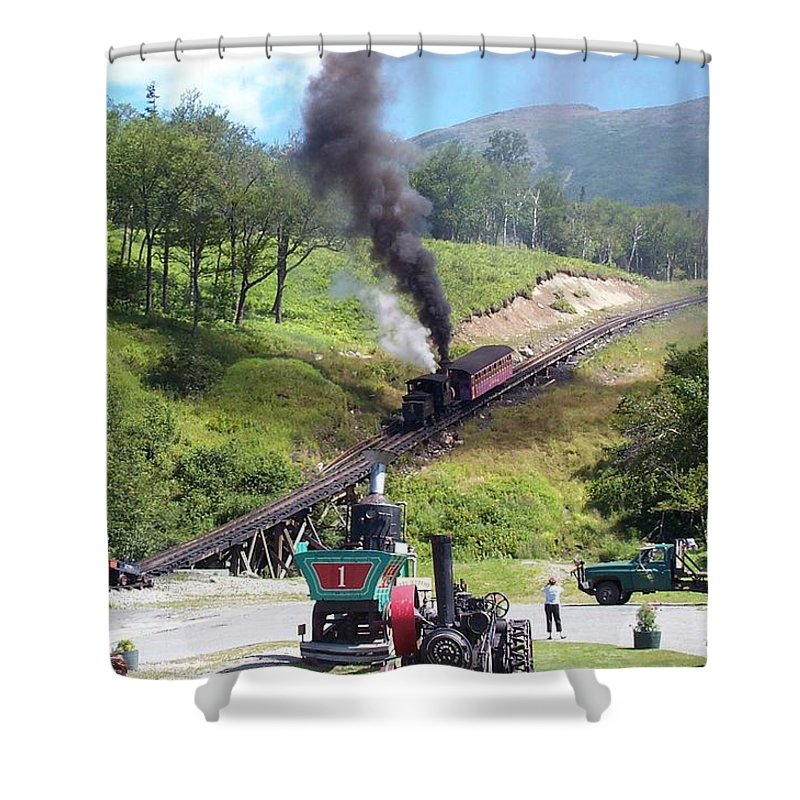 Cog Railroad Shower Curtain featuring the photograph I Think I Can by Barbara McDevitt