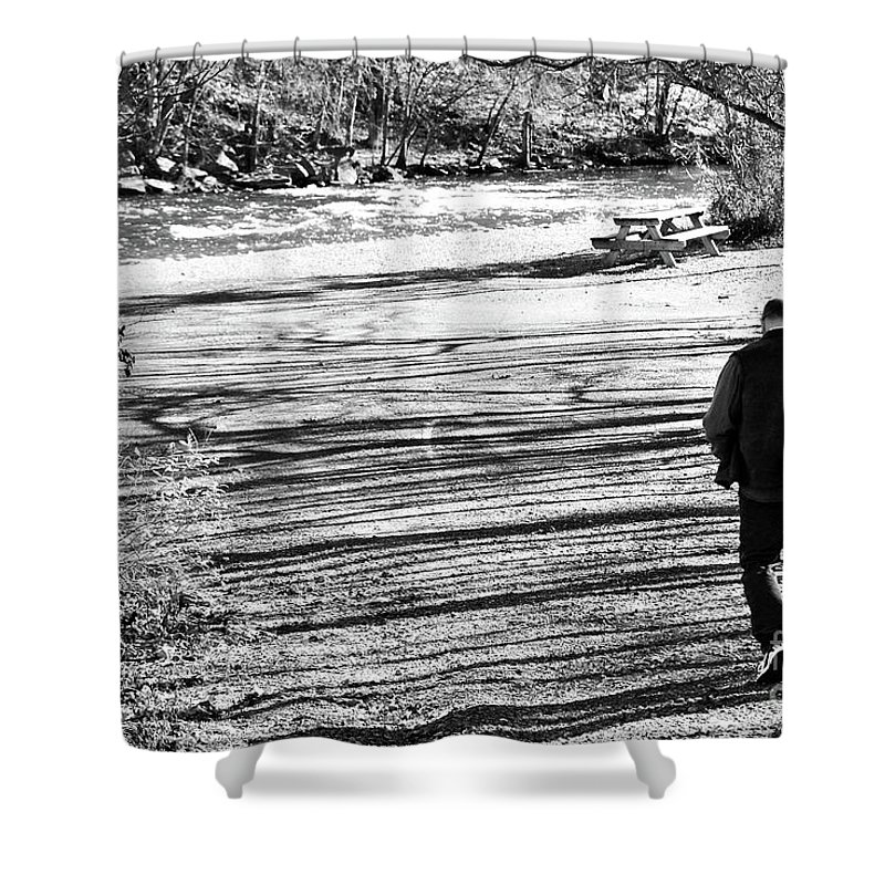 Person Shower Curtain featuring the photograph I Walk Alone by Lori Tambakis