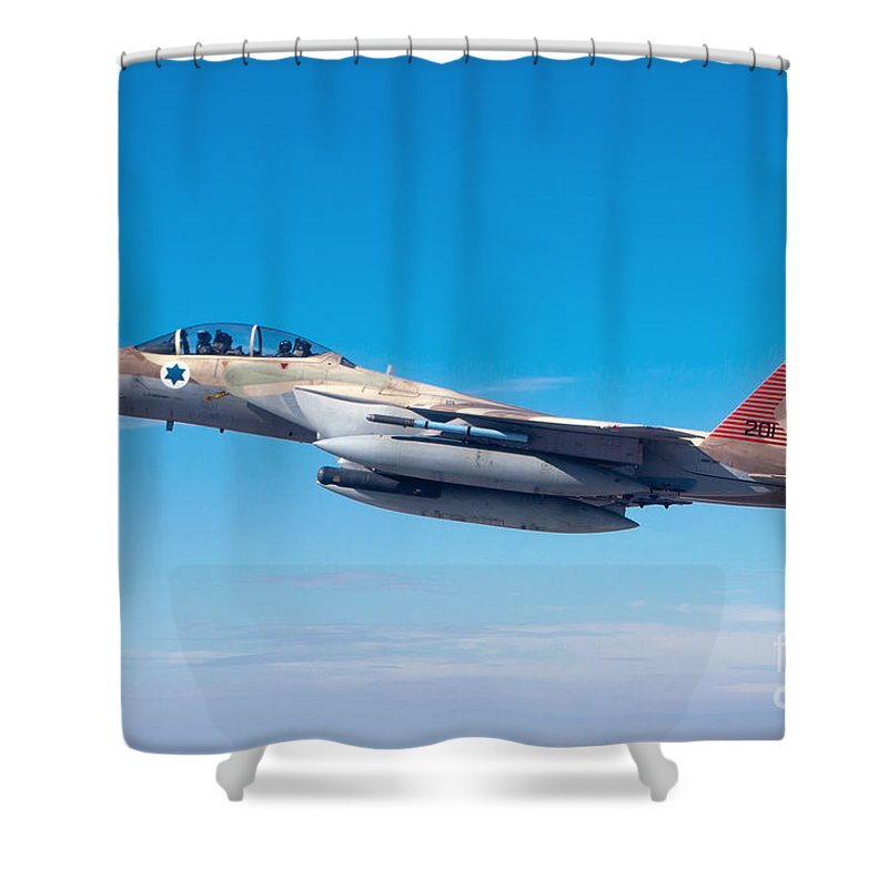Israel Shower Curtain featuring the photograph Iaf Fighter Jet F-15i In Flight by Nir Ben-Yosef