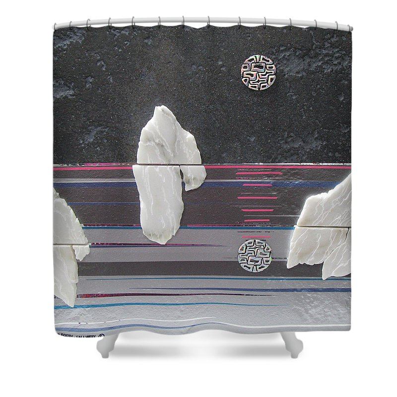 Assemblage Shower Curtain featuring the mixed media Ice Bergs by Elaine Booth-Kallweit