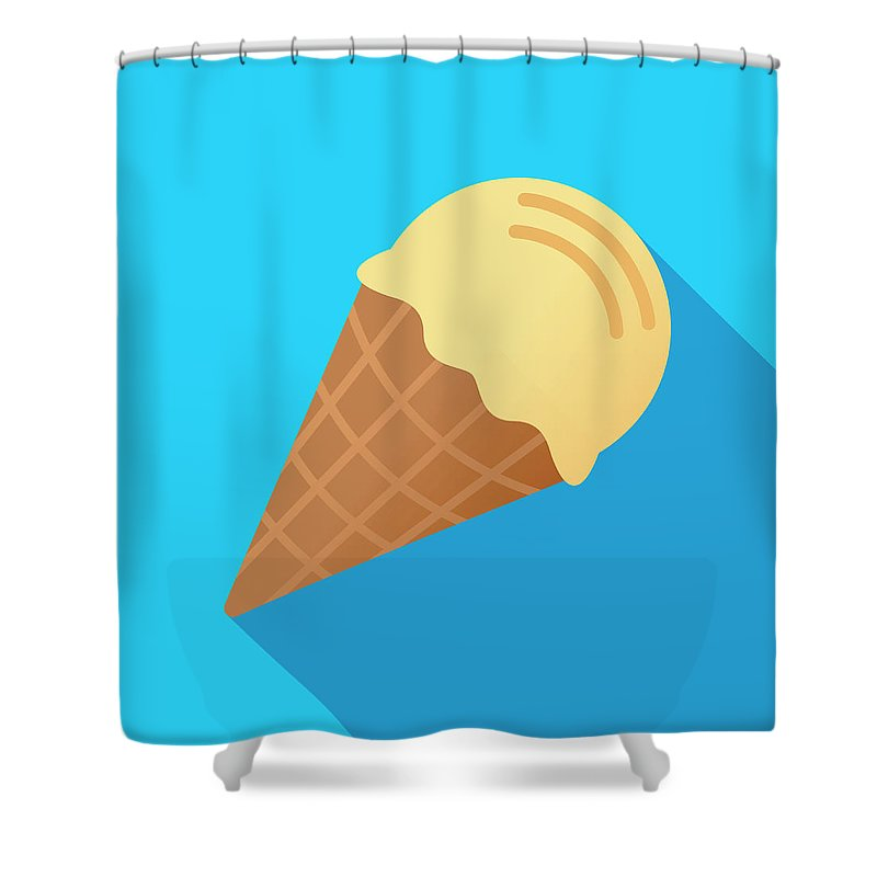 Melting Shower Curtain featuring the digital art Ice Cream Cone Icon Flat by Jakeolimb