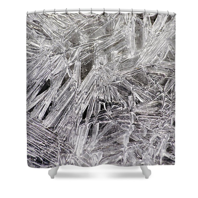 Ice Winter Abstract Outdoors Shower Curtain featuring the photograph Ice Crystals by Diane Hawkins