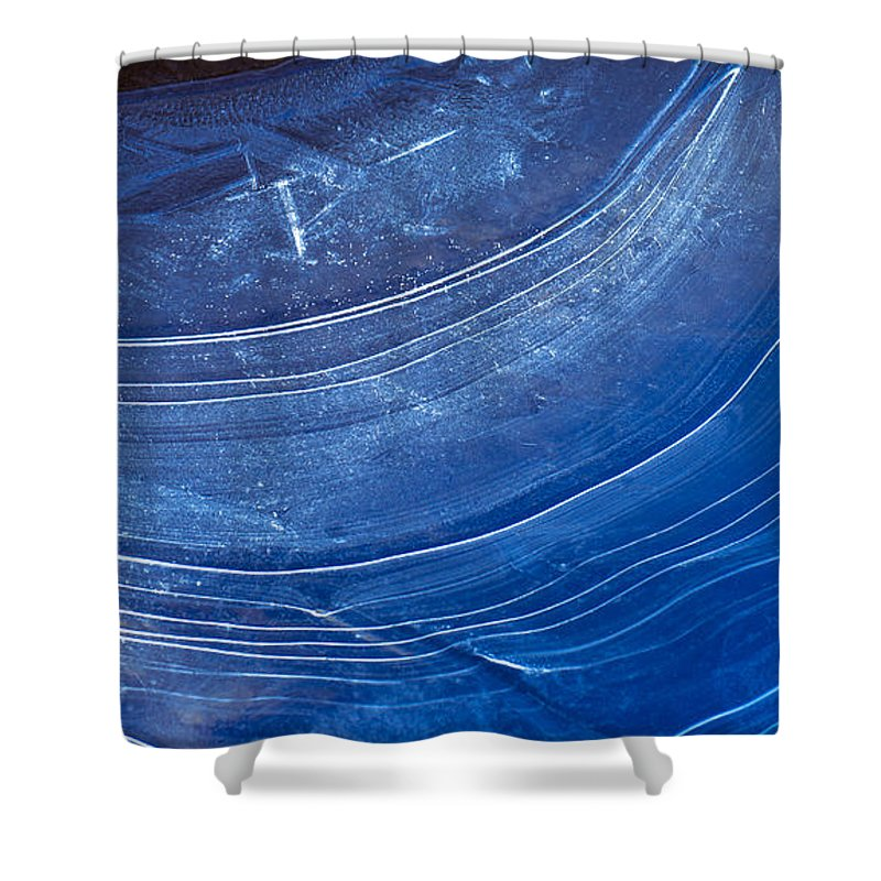 Blue Shower Curtain featuring the photograph Ice Curve In Blue by Joy McAdams